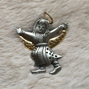 Jewelry - Pewter & Gold Tone Angel Brooch